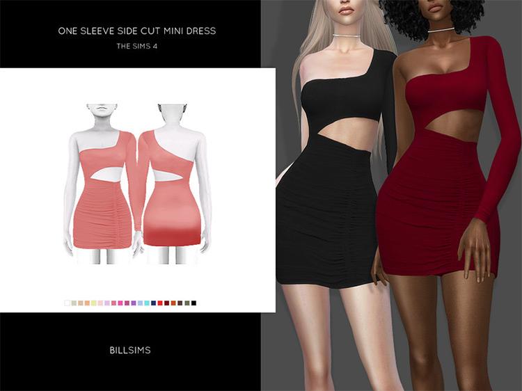 One Sleeve Side Cut Mini Dress Sims 4 CC
