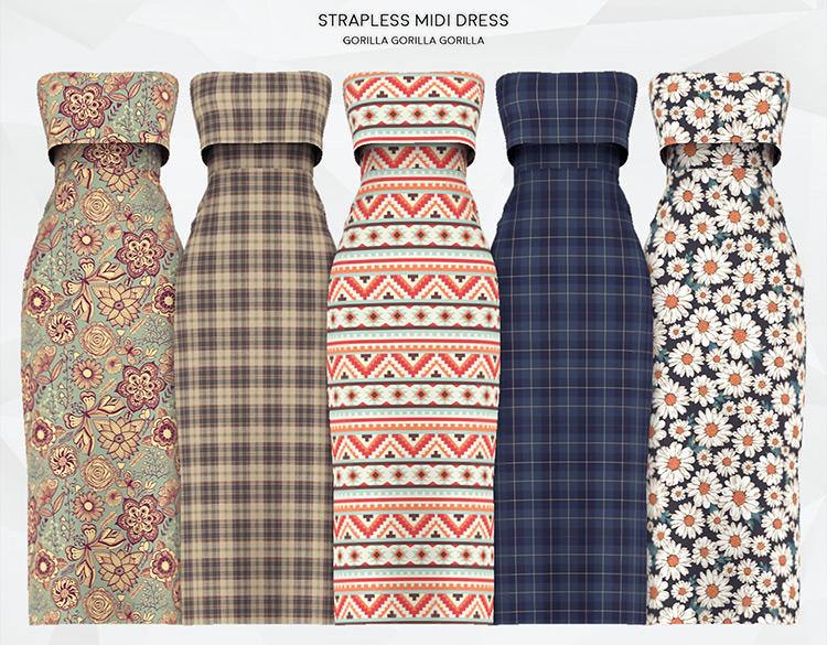 Strapless Midi Dress TS4 CC