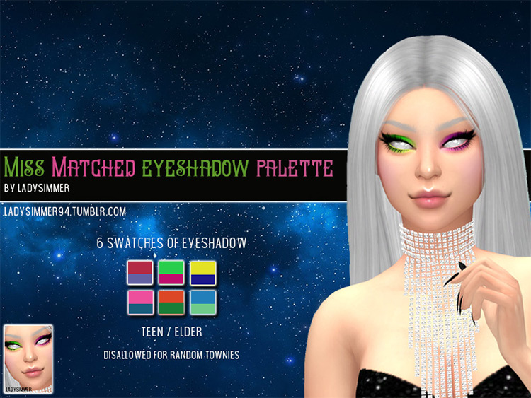 Miss Matched Eyeshadow Palette Sims 4 CC