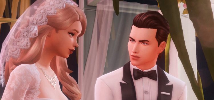 Sims 4 bride and groom screenshot
