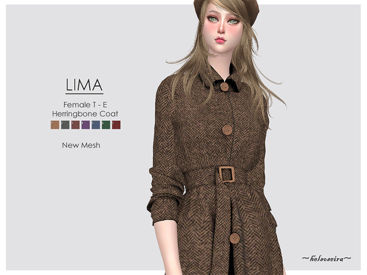Lima Female Coat Sims 4 CC