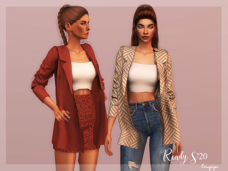 Jacket + Top Outfit Sims 4 CC