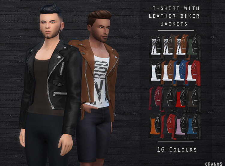 T-Shirt with Leather Biker Jacket Sims 4 CC