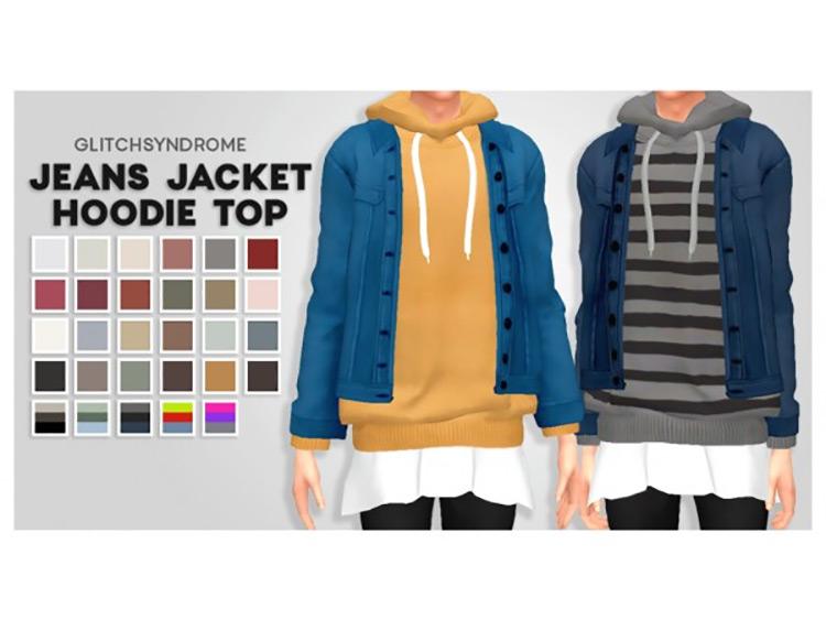 Jeans Jacket Hoodie Top TS4 CC