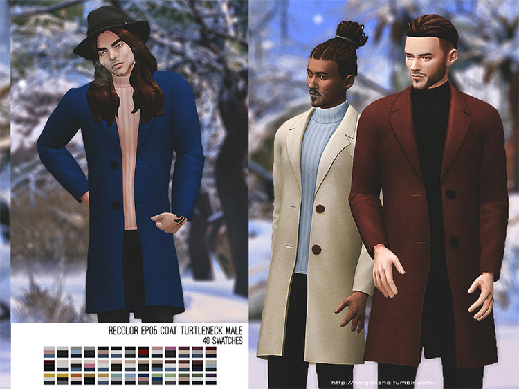 Recolor EP05 Coat Turtleneck Male for Sims 4