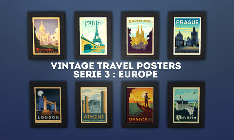 Vintage Travel Posters Series Sims 4 CC
