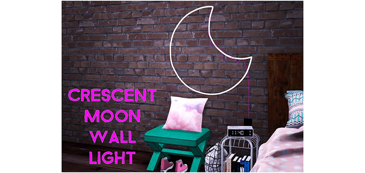 Crescent Moon Wall Light for Sims 4
