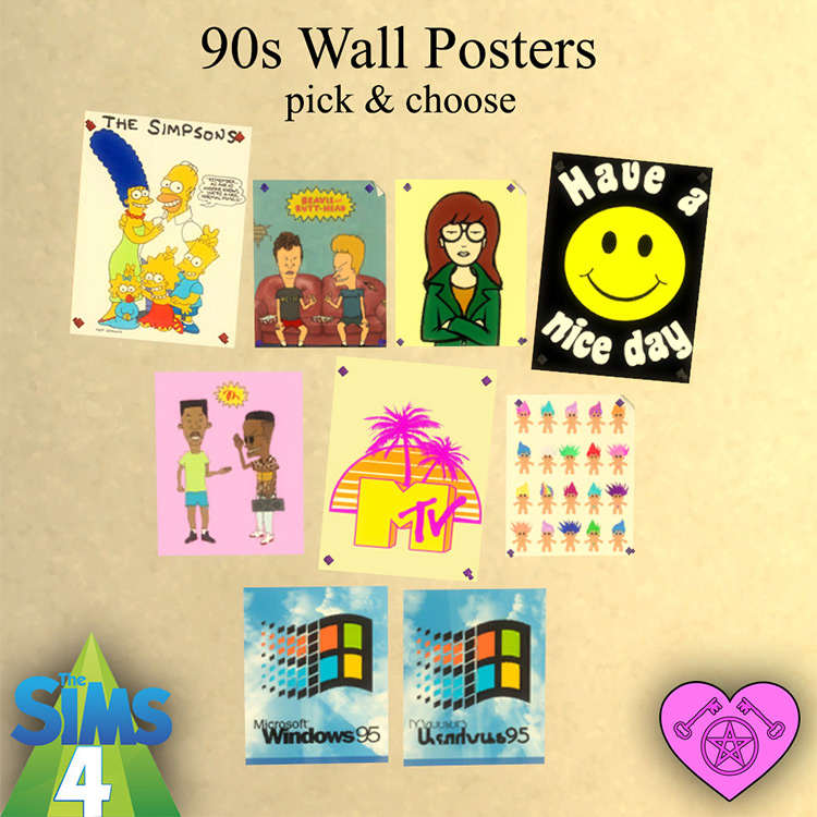 90s Wall Posters Sims 4 CC