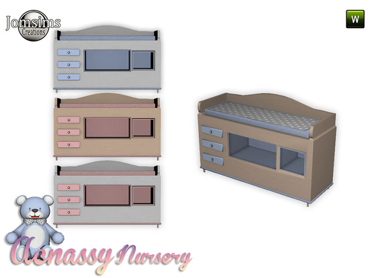 Acnassy Nursery Changing Table Sims 4 CC