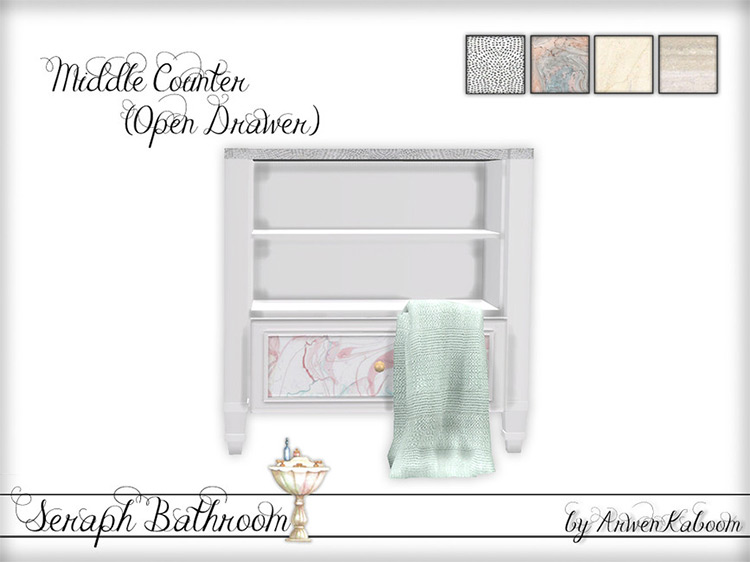 Seraph Bathroom Middle Counter (Open Drawer) TS4 CC