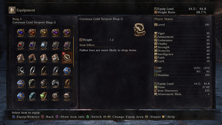 Covetous Gold Serpent Ring (Item Discovery) from Dark Souls 3