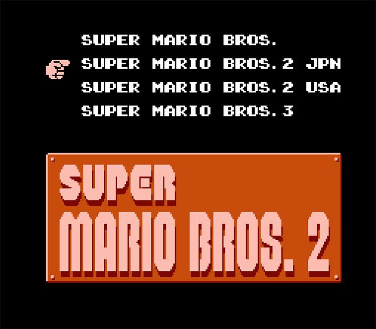 Super Mario All-Stars (NES) Game title menu