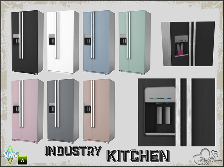 Kitchen Industry Fridge by BuffSumm for Sims 4