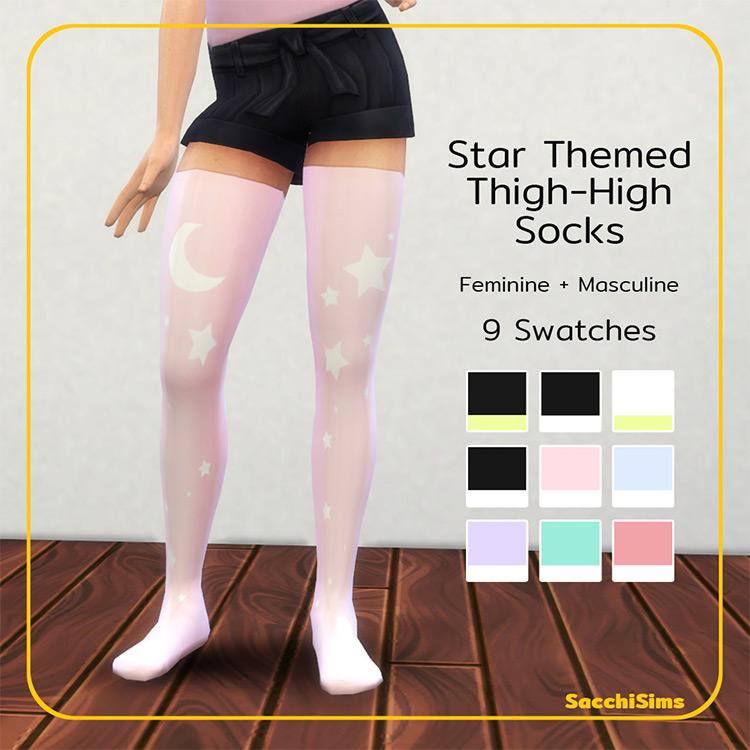 Star Themed Thigh-High Socks by Sacchi Sims TS4 CC