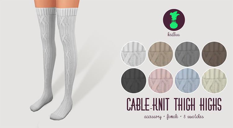 Cable-Knit Thigh Highs by Kedluu for Sims 4
