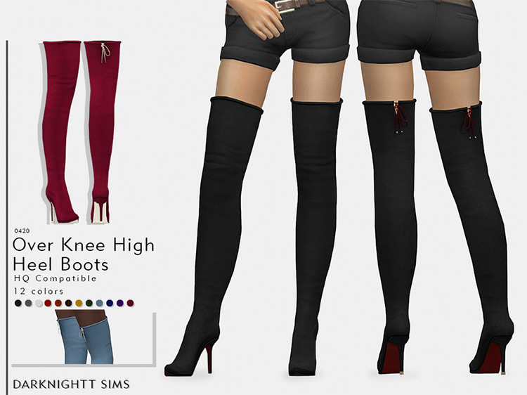 Over Knee High Heel Boots by DarkNighTt Sims 4 CC