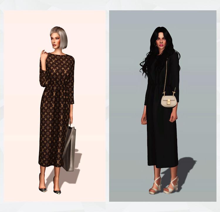 Elastic Waist Long Dress Sims 4 CC