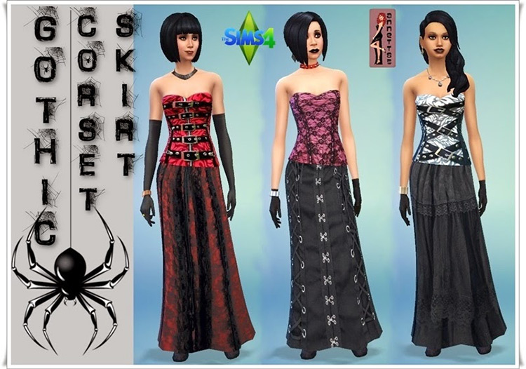 Gothic Corset & Skirt for Sims 4 by Annett Sims 4 CC