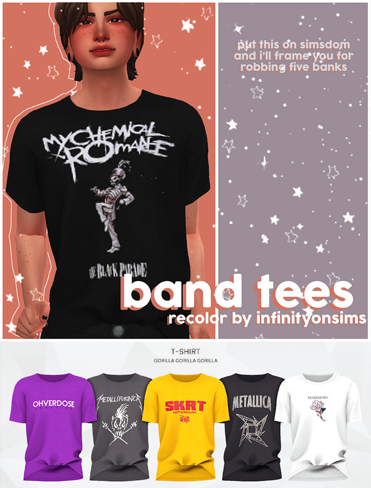 Band Tees Recolor by infinityonsims (mesh needed) TS4 CC