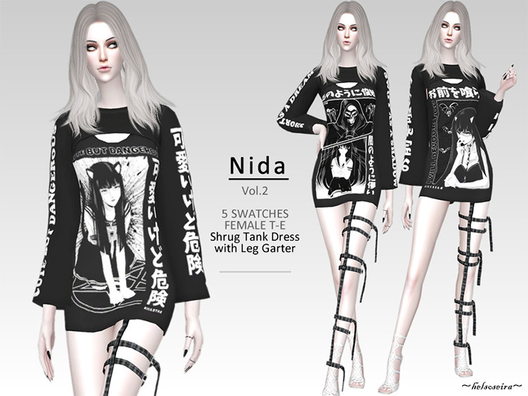 NIDA – V.2 Goth Shrug Dress w/ Leg Garter by Helsoseira Sims 4 CC