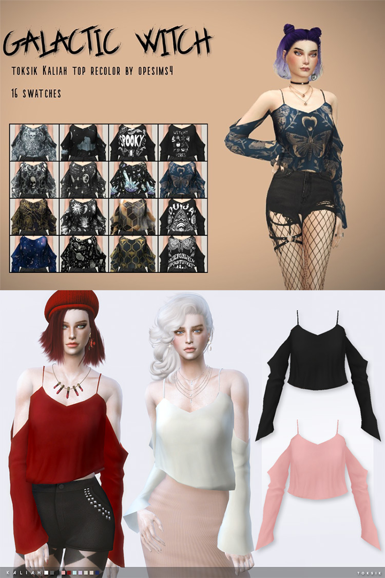 Galactic Witch Toksik Kaliah Top Recolor by opesims4 (mesh needed) Sims 4 CC
