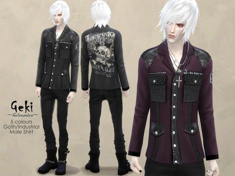 GEKI – MALE – Goth/Industrial Shirt by Helsoseira TS4 CC