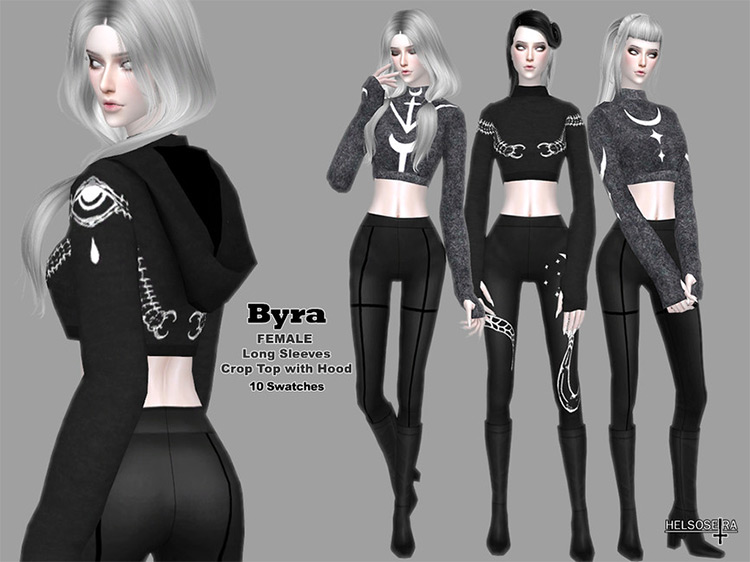 BYRA – Crop Sweater with Hood by Helsoseira TS4 CC
