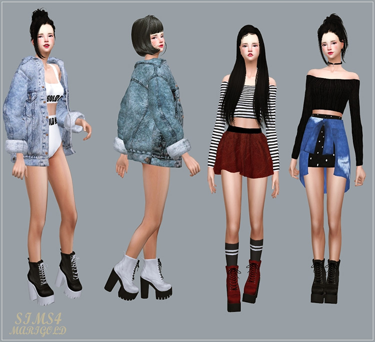 Chunky Combat Boots by Sims4 Marigold Sims 4 CC
