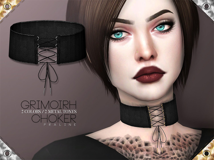 Grimoirh Choker by Pralinesims Sims 4 CC