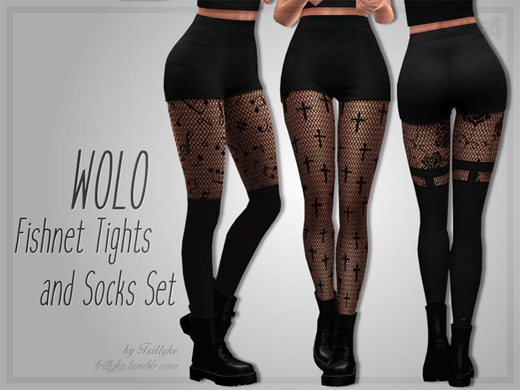 Trillyke – WOLO Fishnet Tights & Socks Set by Trillyke Sims 4 CC