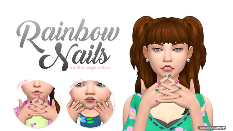 Rainbow Nails by simlaughlove Sims 4 CC