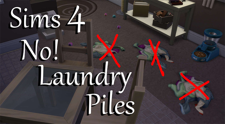 No! Laundry Piles by PolarBearSims Sims 4 CC