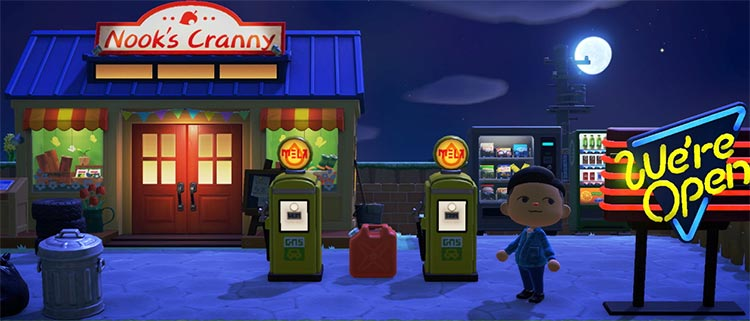 Nighttime retro gas station - Nooks Cranny ACNH
