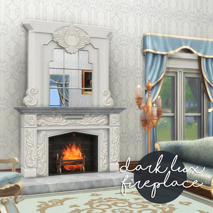 Dark Lux Fireplace Sims 4 CC