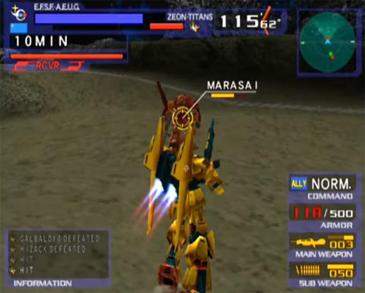 MS Gundam vs Zeta Gundam gameplay PS2