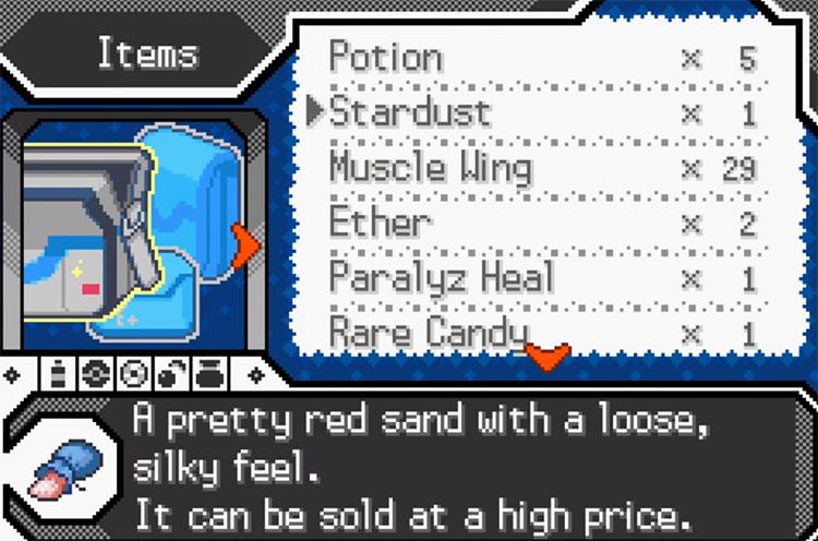 Pokémon Radical Red Items Menu Screenshot