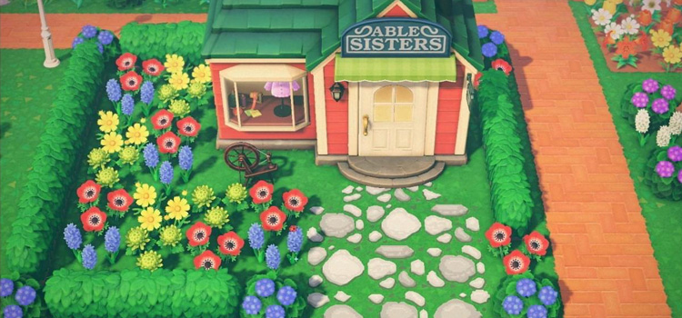 Able Sisters ACNH - Front Garden Pathway Idea