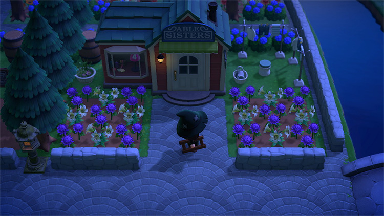 Nighttime Able Sisters garden area