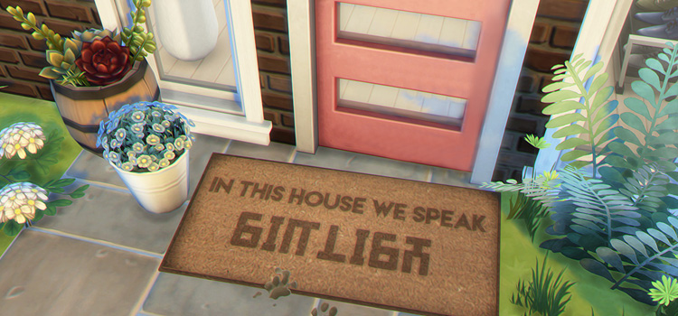 In This House We Speak Simlish - Sims 4 Welcome Mat CC