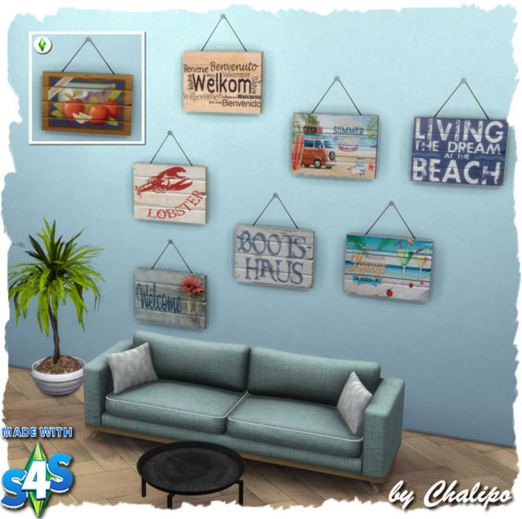 Sims 4 Wooden Sign Welcome CC