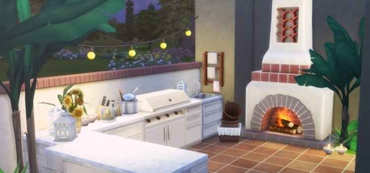 Outdoor Kitchen & BBQ Area - Sims 4 CC