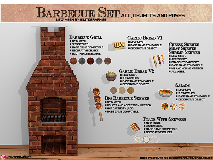 Home Barbecue CC Set for The Sims 4