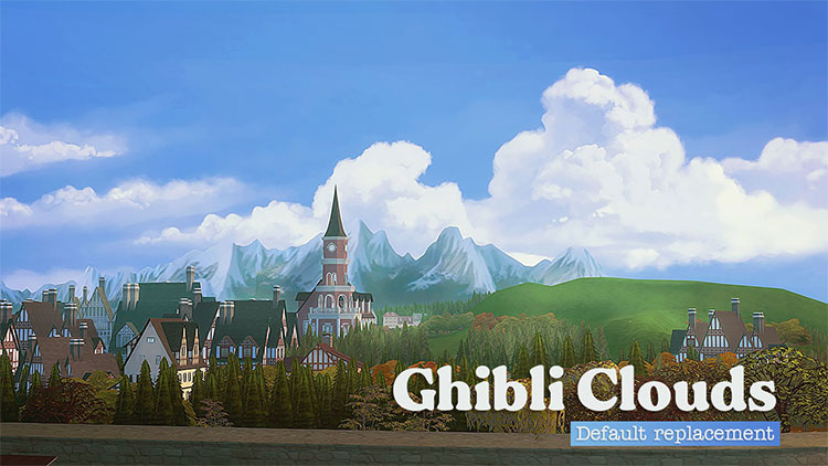 Ghibli Clouds in the Sky - The Sims 4 Mod