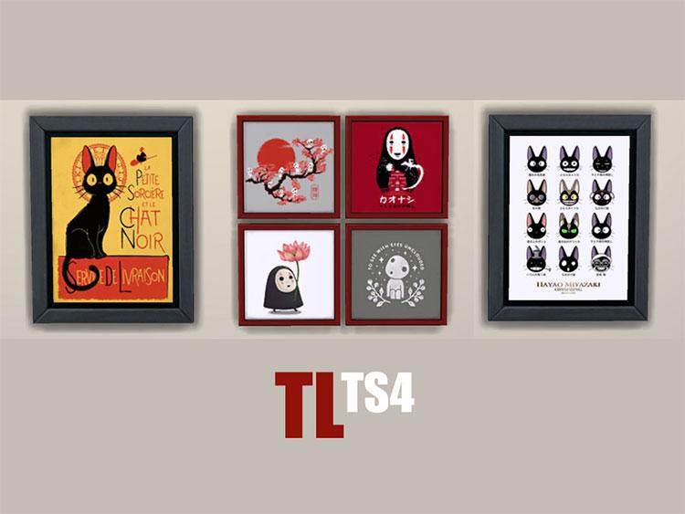 Assorted Ghibli Wall Art CC Set - TS4