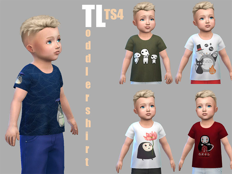 Little Ghibli Shirts CC for The Sims 4