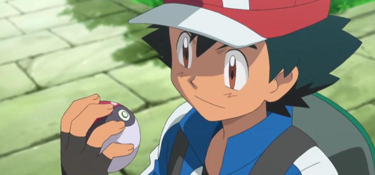 Ash Ketchum holding Poke ball - Pokémon Anime