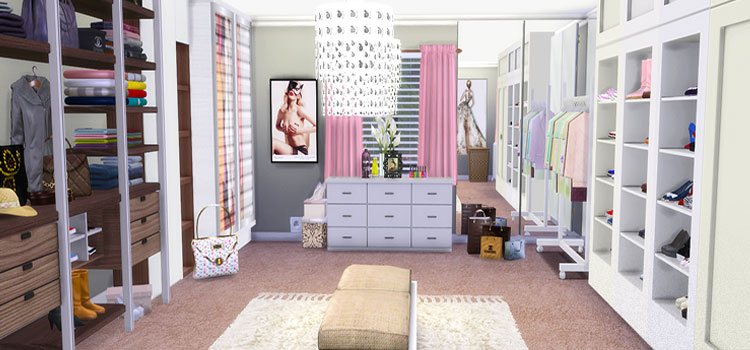 Girly walk-in closet in TS4