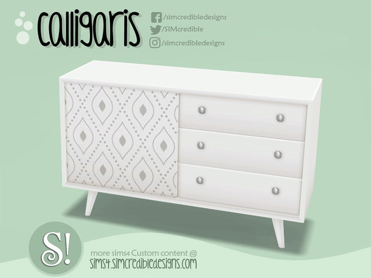 White midcentury Dresser CC - The Sims 4