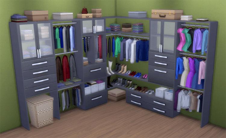 Black Modular Closets CC - Sims 4