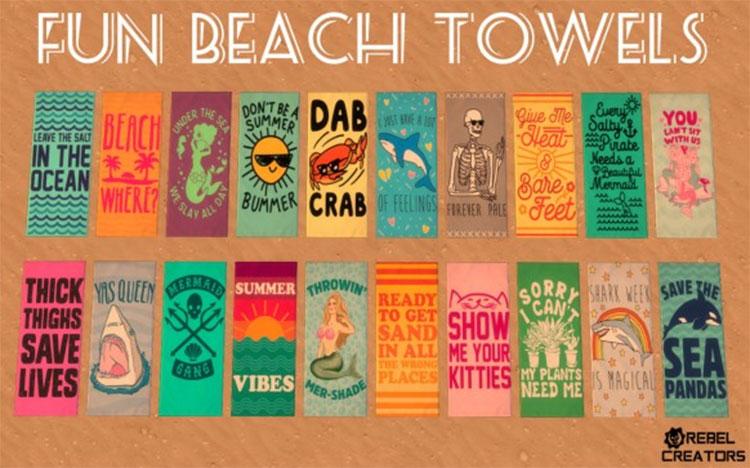 Fun Beach Towels CC for The Sims 4